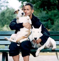 Famous fashion designer Marc Jacobs with his bull terriers Alfred & Daisy.