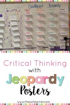 Engage your students in critical thinking with this Jeopardy poster cooperative learning activity for any content area!