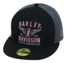 Harley-Davidson® Men's #1 Wing 59FIFTY Cap Hat, Colorblock Black/Grey. 99426-16VM - Wisconsin Harley-Davidson