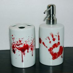 Hey, I found this really awesome Etsy listing at https://www.etsy.com/listing/221868978/bloody-bathroom-ceramic-set-bates-motel