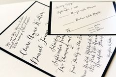 Modern, black and white invitation script for wedding    DivaGoneDomestic.com