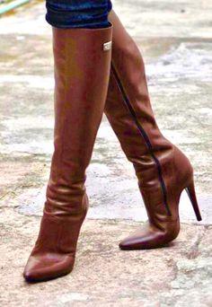 Knee High Stiletto Boots, Leather High Heel Boots, Thigh High Boots, Heeled Boots, High Heels, Beige Boots, Brown Boots, Skirts With Boots, Jeans And Boots