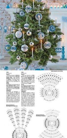 Вязание крючком - рожднственские ёлочные украшения Christmas Charts, Crochet Christmas Ornaments, Christmas Crochet Patterns, Diy Christmas Ornaments, Christmas Angels, Christmas Projects, Christmas Tree Decorations, Crochet Lamp, Crochet Tree