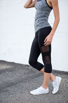 CROPPED LEGGINGS WITH MESH DETAIL | BLACK | ONLINE WOMEN'S FASHION | ONLINE…