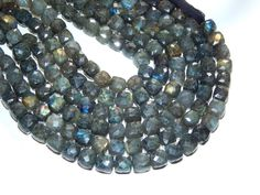 Labradorite Faceted 3D Cube Beads 1. Strand 9Inches by SRBEADS