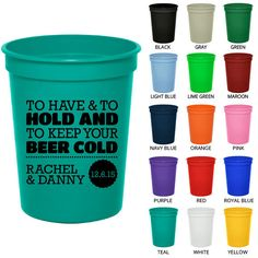 Personalized Plastic Cups (Clipart 1807) To Have and To Hold - Custom Party Cups - Wedding Cups - Stadium Cups