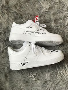 Ron Holt on Mens Custom Air Force 1 with Off White design complete with Red safety tag. Nike Tick removed and hand sewn on.K sizes available. Message size when purchased. Custom Sneakers, Custom Shoes, Nike Custom, Custom Af1, Nike Vintage, Sneakers Fashion, Shoes Sneakers, Fashion Shoes, Air Force One