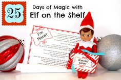 """FREE Downloadable Letter of introduction for Elf on the Shelf & """"Read Me"""" tag from We Believe in Christmas Magic! from Making Life Whimsical.  Also includes several photos of ideas for Elf."""