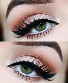 Peach and cream eye makeup look. Make-up for eyebrows, blue eyes . - Peach and cream eye makeup look. Make-up for eyebrows, blue eyes, green eyes and … – - Neutral Eye Makeup, Red Eye Makeup, Pretty Eye Makeup, Makeup Looks For Green Eyes, Orange Makeup, Eye Makeup Tips, Makeup Hacks, Pretty Eyes, Makeup Goals