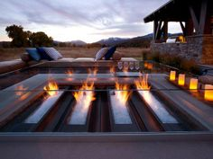 Custom Outdoor Fireplace with Glass Rocks #home #ideas #decor #design #patio