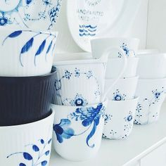 Royal Copenhagen - Mixed patterns of Cups & Mugs from the popular, classic, long-time 'Blue Fluted' Collections.