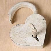 cast iron heart lock & key