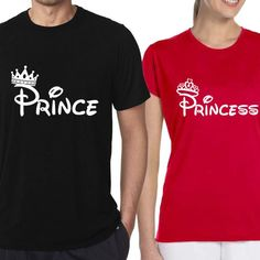 Pack of 2 - Prince + Princess T-shirts for Couples Online Couple Tshirts, Prince And Princess, Deal Today, Couples, Mens Tops, T Shirt, Cotton, Black, Fashion