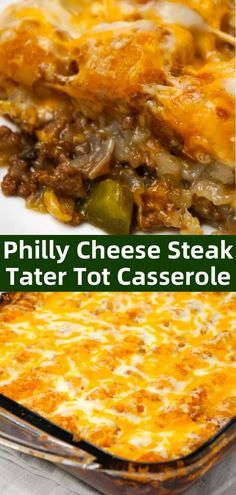 Philly Cheese Steak Tater Tot Casserole is a hearty dinner recipe with a base of ground beef, diced onion, diced green peppers and sliced mushrooms tossed in brown gravy and topped with shredded cheese and tater tots. Beef Casserole Recipes, Casserole Dishes, Hamburger Casserole, Philly Cheese Steak Casserole Recipe, Tatertot Casserole Recipe, Best Tater Tot Casserole, Tater Tot Hotdish, Philly Cheese Steak Sliders, Cheeseburger Casserole