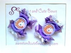 Two Princess Sofia Hair Bows attached to your by SweetandCuteBows, $14.50