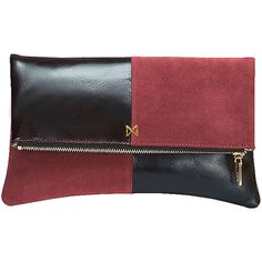 Mofe Esoteric Leather And Suede Dual-Texture Colorblock Foldover-Style... (€115) ❤ liked on Polyvore featuring bags, handbags, clutches, genuine leather purse, red suede handbag, leather man bags, red hand bags and handbags purses