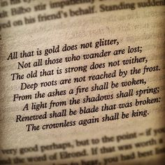 All That Is Gold Does Not Glitter, J. R. R. Tolkien