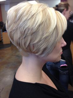 Short tapered bob, platinum base with golden blonde lowlights and blonde hilights!
