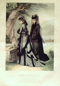 Two Woman in mourning, fashion plate 1875 #victorian #amwriting #fashion