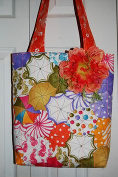 Springtime bag made with NEWEST Loralie Designs fabric for $ale in my Etsy Shop :)