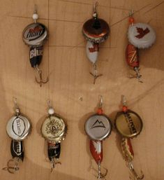 Bottle cap fishing lures - Might make these as ornaments and make some for Tim for Christmas