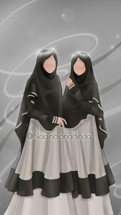 Friend Cartoon, Friend Anime, Muslim Brides, Muslim Girls, Love Cartoon Couple, Islam Women, Anime Muslim, Hijab Cartoon, Hijabi Girl