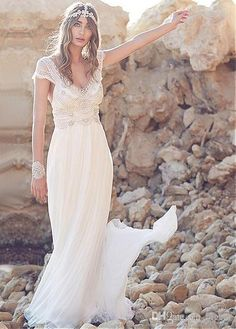 Summer Beach Wedding Dress Boho Bridal With Cap Sleeves Designers Dresses Online From Ear 110 56 Dhgate Com