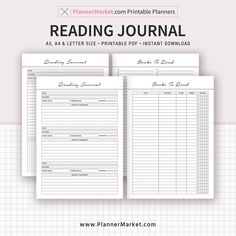 INSTANT DOWNLOAD READING JOURNAL. Start Using Immediately! Three sizes included: A5, A4 and US Letter Size(8.5 x 11 in). Filofax A5. 2018 Planner Inserts. Planner Refills. Printable Planner. Planner Binder. www.PlannerMarket.com
