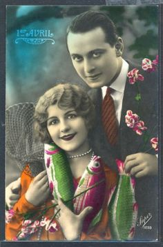 PZ102-ART-DECO-APRIL-FOOLS-1er-AVRIL-COUPLE-FISHES-FRENCH-Tinted-PHOTO-pc