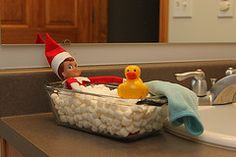 Marshmallow bath with rubber duckie for those of you who are looking for Elf on the Shelf ideas!  This is when having little ones is so much fun!