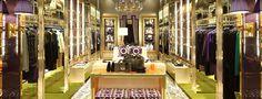 Tory Burch London brass trim purple lacquer wall sconces store