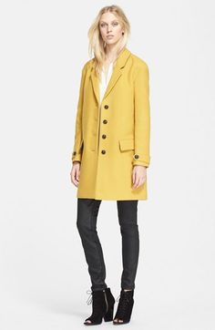 Burberry Brit Single Breasted Wool Blend Coat