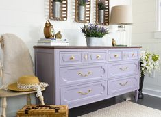 DIY Purple Dresser makeover with Divine Lavender - Fusion Mineral Paint Purple Dresser, Colorful Dresser, Dresser As Nightstand, Refinished Dressers, Purple Furniture, Paint Furniture, Furniture Design, Diy Dresser Makeover, Houses
