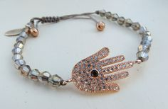 Rose gold hamsa hand charm with gunmetal bicones by NokoDesigns