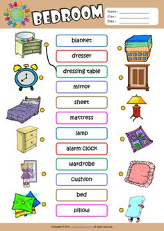 Bedroom ESL Matching Exercise Worksheet For Kids