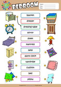 Bedroom ESL Matching Exercise Worksheet For Kids