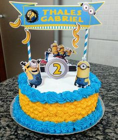 Minions Party More decorating ideas on albums: Minions Party 2 Twin Birthday, Birthday Cake, Bolo Minion, Happy Birthday Minions, Minion Party, Afternoon Tea, Cake Toppers, Birthdays, Desserts