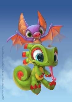 Painting process of my version of Yooka & Laylee, a new game by Playtonic Games. Cartoon Art, Cute Cartoon, Game Character, Character Design, Chibi, Stoff Design, Cute Dragons, Cute Monsters, Creature Concept