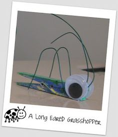 Kids Craft: Clothespin Grasshoppers #mfw #craftsforkids #insectcrafts