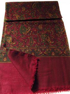 Vintage mens paisley mod scarf burgundy green yellow - Tweedmans Vintage
