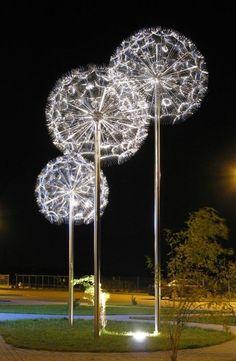 Art~Dandelion light sculpture by Miroslaw Struzik, Poland Dandelion Light, Dandelion Art, Dandelion Seeds, Instalation Art, Outdoor Art, Landscape Lighting, Land Art, Light Art, Public Art