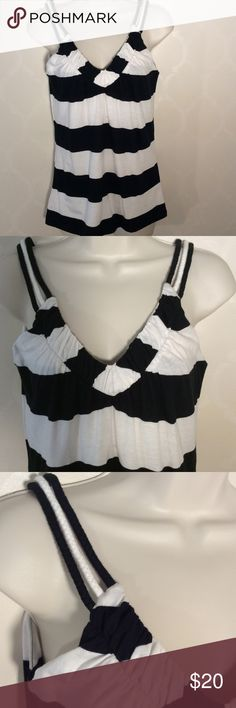 🆕GIANNI BINI STRIPED TOP Adorable Gianni Bini Black & White Striped Top ➖ straps are 3 braids of material ➖ all side stripes match!!!  I'm so weird about that! Gianni Bini Tops