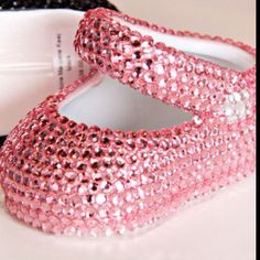f2f9bf22999 Pink jewel encrusted porcelain baby shoes- aaaahh so cute!