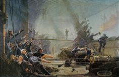 """9 May 1864, in the North Sea, a Danish squadron defeated the Austrian navy in the Battle of Helgoland (or Heligoland) during the last engagement of wooden warships and the last Danish fleet action.  Depicted below is the Danish painer Christian Mølsted's (1862-1930) imagination of the gunners of the frigate """"Niels Juel"""" celebrating their success against the """"Schwarzenberg"""" called """"Ombord på frigatten """"Niels Juel"""" under slaget ved Helgoland 9. maj 1864"""" (1898)"""