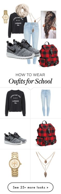"""""""school"""" by braylibarr on Polyvore featuring Topshop, Paige Denim, NIKE, Aéropostale, Tory Burch and H&M"""