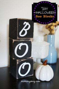 Easy DIY Halloween Decor - Boo Blocks tutorial on www.mommyenvy.com