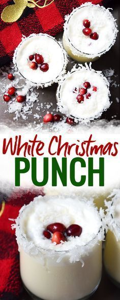 White Christmas Punch - this easy and nonalcoholic white Christmas punch is a quick and easy recipe for a crowd at Christmastime.