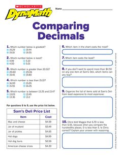 Introducing When DynaMath shares some of our favorite skills sheets for free to help students build math skills. Comparing decimals (with an answer key)! 5th Grade Math, Fifth Grade, Math Fractions, Maths, Teaching Tips, Teaching Math, Math Games, Math Activities, Comparing Decimals