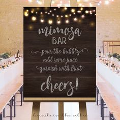 Mimosa Bar printable sign large wedding day bridal shower party signs champagne alcohol cocktails drinks sign DIGITAL download PDF by HandsInTheAttic