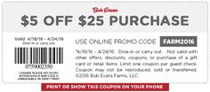 Pinned April 24th: $5 off $25 today at Bob #Evans restaurants or onine via promo code FARM2016 #coupon via The #Coupons App